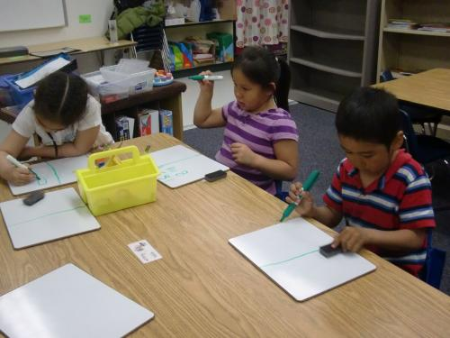 The K-1st students begin their lab write-ups.