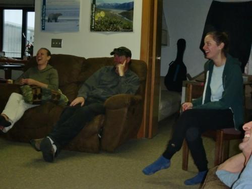 Tara, Roy and Carrie enjoy Stephanie's story.