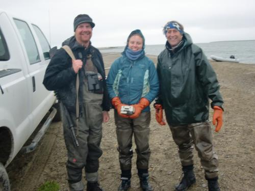 Roy, Carrie and Ken returned chilled from a cold day in the field.
