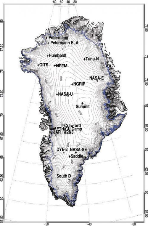 Map of Greenland with AWS locations