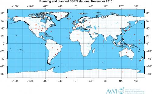 Map of BSRN stations - Global
