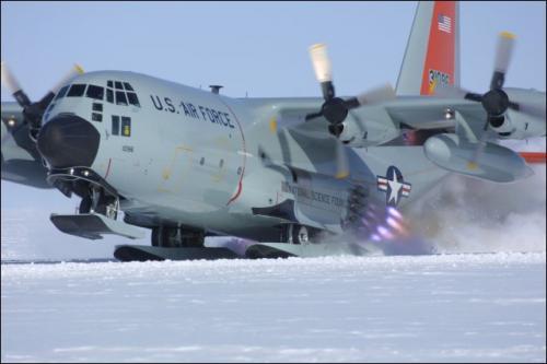 Hercules C-130 using rocket boosters