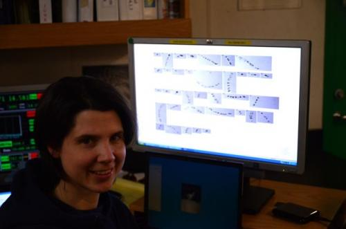 Emily Peacock at her computer