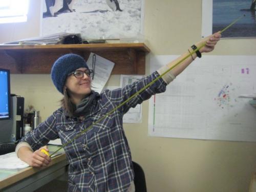 Julie Katch showing off her measuring tape.