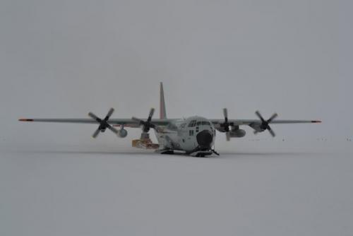 LC-130 waiting for take off from the world's longest ice skiway