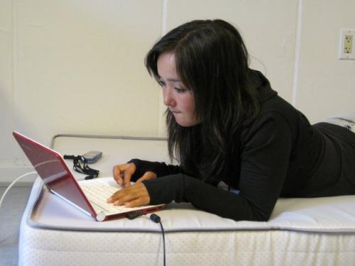 Sylvia works on her presentation