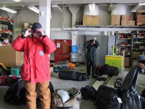 Trying on Arctic gear for Summit and NEEM