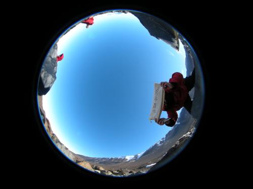 Fish eye photo of the sample's perspective view of the horizon.