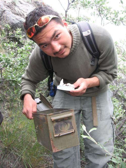 Aggu Broberg (Grl) finding the cache