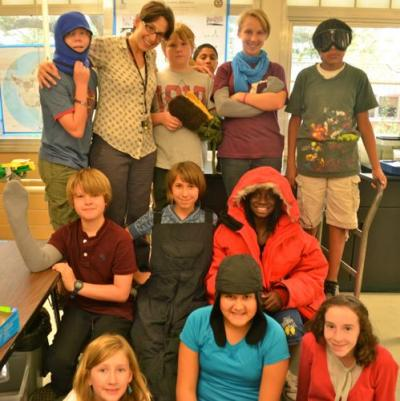 PolarTREC teacher Michelle Brown and students try on Extreme Cold Weather