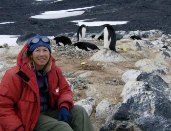 PolarTREC teacher Dena Rosenberger at the Adelie penguin rookery near McMurdo St