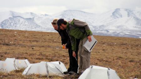 PolarTREC teacher Melissa Lau and Researcher Matthew Simon take measurements at Imnaviat Creek, Alaska