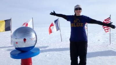 Kate Miller at the South Pole (Photo courtesy ARCUS).