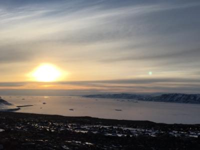 Sunset in Greenland. Being above the Arctic Circle in April it was never truly dark at night.