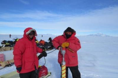 Bault in the field, drilling an ice core.