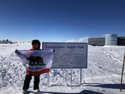Flag at geographic South Pole