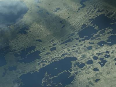 Aerial view of land formations made by permafrost thaw