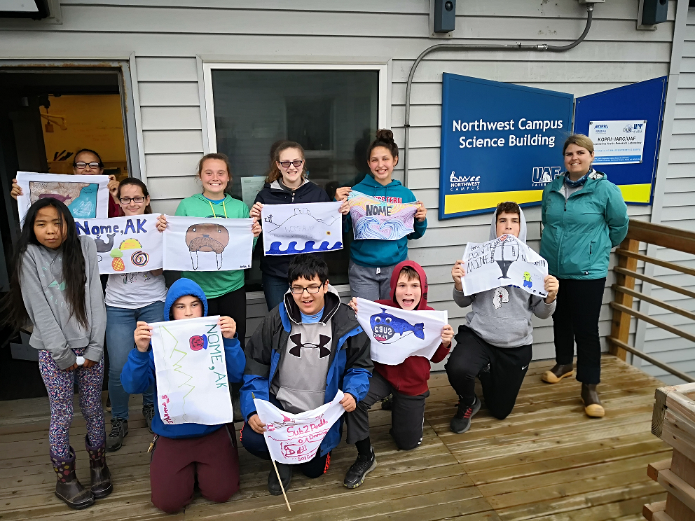 Piper Bartlett-Browne with the Ecology Explorers in Nome, AK after a day learning about the Arctic. (Photo courtesy of Jackie Hrabok-Leppajarvi)