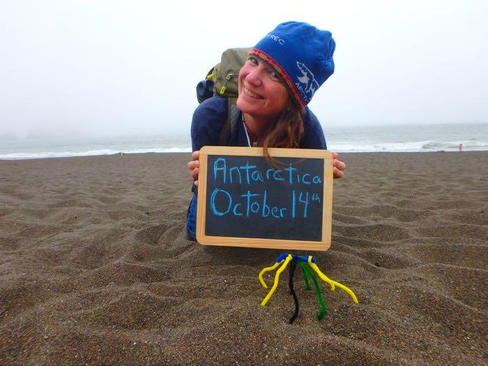 Amy Osborne on Rodeo Beach with a pipe cleaner sea spider announces her Antarctica depature date