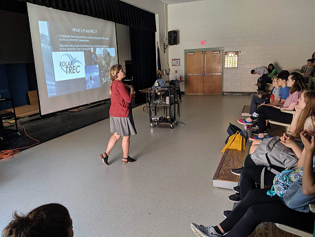 Piper Bartlett-Browne speaking with students at Dover Middle School in Dover, NH. (Photo courtesy of Shea Cook)
