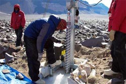 Setting up a drill site in the Dry Valleys, Antarctica
