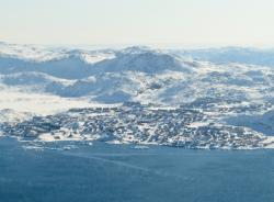 An aerial view of Ilulissat, Greenland.
