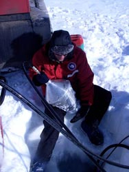 A hot water drill used to drill through the sea ice