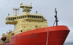 The Nathaniel B. Palmer research vessel docked in Punta Arenas, Chile. Photo by Jillian Worssam.