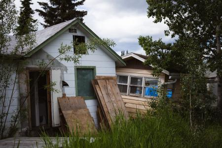 Houses on thawed permafrost