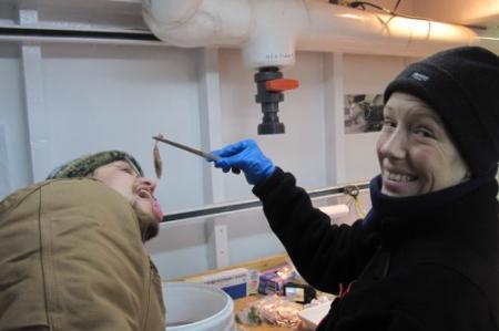 Eating a shrimp?