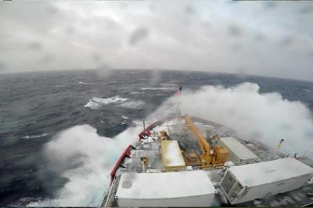 Wave Breaking Over USCGC Healy's Bow