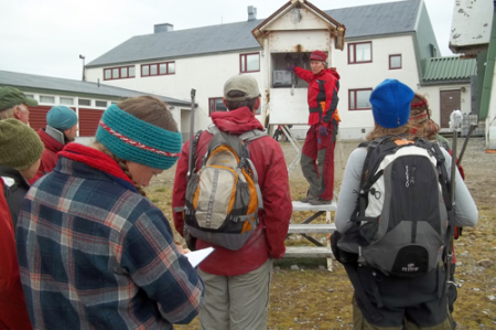 Hanne showing the 'English Hut'