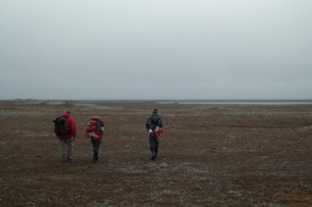 Mike, Helena, and Dion's final hike back for the season