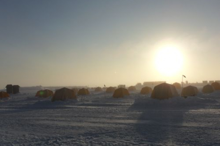 Tent city at midnight - last night at Summit Station