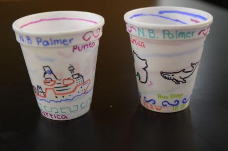 Decorated cups to be lowered to the bottom of the ocean