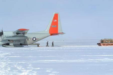 Loading an LC-130 at Summit Station, Greenland