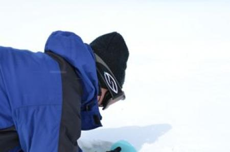 Getting a Snow Layer Sample in Greenland