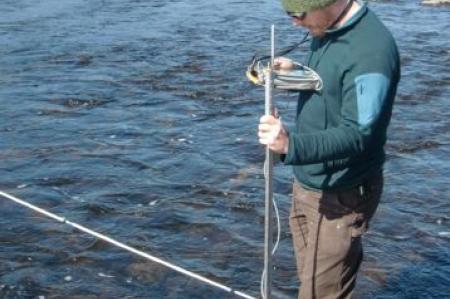 Measuring stream depth and velocity