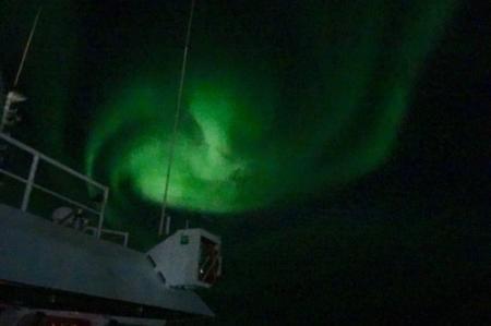 Aurora over the Beaufort Sea onboard the R/V Sikuliaq!