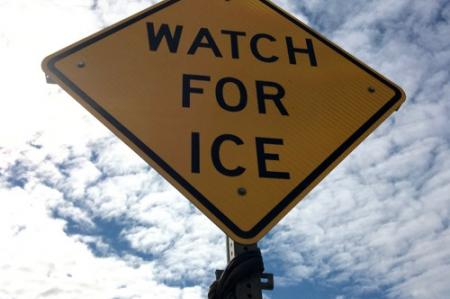 Watch For Ice sign on the street in Nome Alaska.  Photo by Lisa Seff.  August 23, 2017.