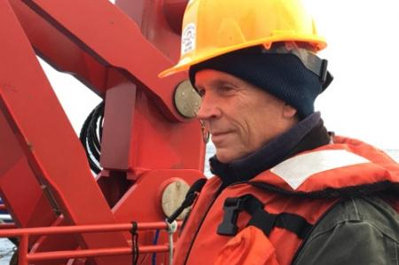 Dr. Steve Okkonen on the deck of the Sikuliaq.  August 2017.  Photo by Lisa Seff.