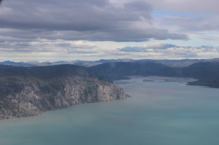 Our bird's eye view of Greenland near Kangerlussuaq from the LC-130.