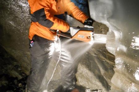 Miriam Jackson taking an ice sample