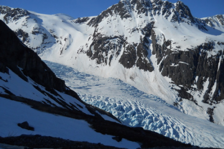 A morning view of the glacier