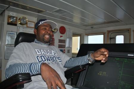 Ernest Stelly III piloting the Laurence M. Gould