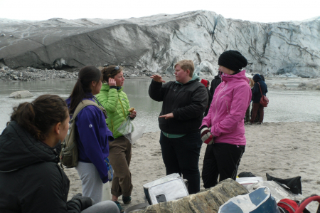 Karen Cameron talking to Rikke Jorgenson about their experiments