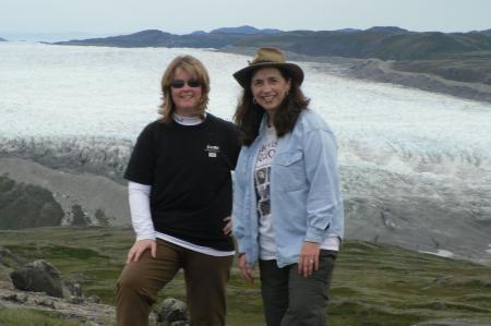 Einstein Fellows Shelly Hynes and Lynn Reed near Russell Glacier