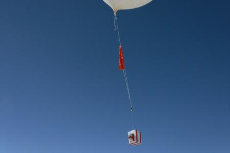 Cecilia and Fie launching an Ozonesonde (Ozone balloon)