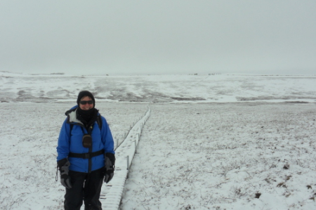 Ms. Steiner dressed for field work on a snowy day