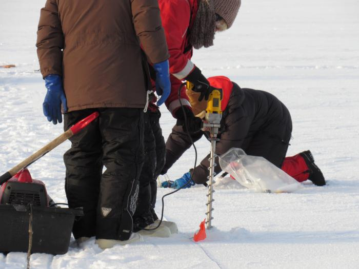 A science crew member uses an ice drill to bore a hole in the sea ice for an ice depth measurement. On the sea ice near the CCGS Louis S. St-Laurent in the Beaufort Sea. Photo by Dave Jones (PolarTREC 2017), Courtesy of ARCUS.